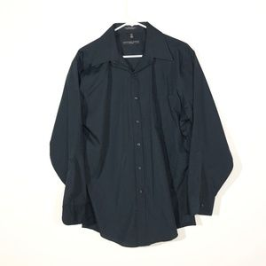 Geoffrey Beene L Fitted Black Button Up Shirt